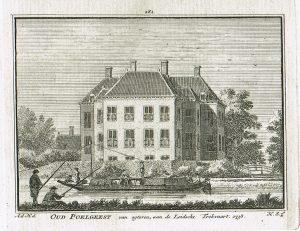 De trekschuit vaart voorbij Oud Poelgeest in 1738, Kopergravure van Hendrik Spilman naar een tekening van A. de Haan