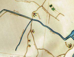 De Pastoorswatering op een kaart uit 1620. De afwateringssloot mondt uit in de Vliet, nu het Oegstgeesterkanaal. De rood gekleurde kerk bij 'oogstgeest' is de voorganger van het Groene Kerkje